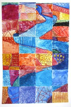 """warm cool colors, draw """"river"""" first then cut up posterboard and give every child a square to paint with cool colors and warm colors"""