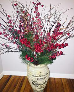 Interior holiday pots! #christmas #decor