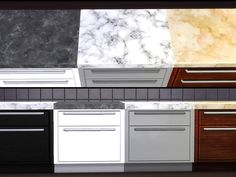 Marble Kitchen Set. EA mesh. Non-default and standalone. Marble tops come in 3 colors. Cabinets and counters come in 4 wood colors. Please do not re-upload or claim as your own. Enjoy!! Marble...