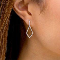 Marilyn Monroe Collection 3/8 CT Diamond Teardrop Earrings in 14K White Gold FN | eBay