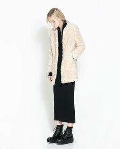 furry coat zara