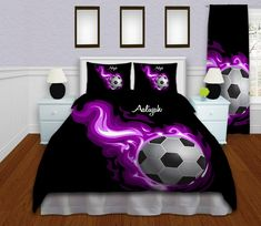 Purple Flames Soccer Comforter Queen, Twin, King, Girls Soccer Bedding, Athletic Bedding, Kids comforters, Personalized Comforter #142 by EloquentInnovations on Etsy