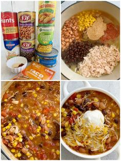 7 Can Soup is a super simple dinner recipe that's made in just one pot and ready in 20 minutes. Dump 7 cans in a pot plus some seasonings. Serve with Best Chicken Tortilla Soup, Easy Taco Soup, Chicken Enchilada Soup, Easy Tortilla Soup, Chicken Soups, Taco Soup With Chicken, Crockpot Chicken Taco Soup, Costco Chicken, Chicken Tacos