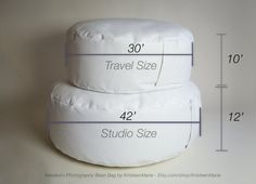 This listing is for the TRAVEL size baby bean bag. It will measure out to approximately 30 inches in diameter and 10 inches in height. If you find