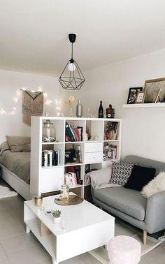 Studio Apartment Living, Studio Apartment Divider, Small Apartment Bedrooms, Studio Apartment Layout, Studio Apartment Decorating, Studio Living, Small Apartments, Apartment Ideas, Small Spaces