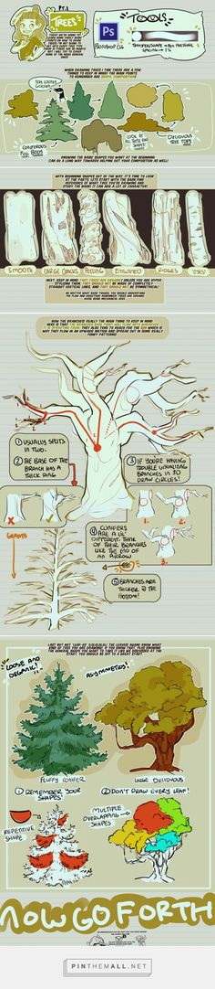 Ideas for tree illustration tutorial character design Digital Painting Tutorials, Digital Art Tutorial, Art Tutorials, Drawing Tutorials, Design Reference, Drawing Reference, Drawing Tips, Drawing Sketches, Drawing Ideas