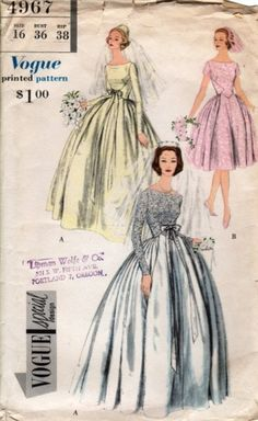 DREAMY 1950s WEDDING GOWN BRIDAL DRESS PATTERN VOGUE SPECIAL DESIGN 4967