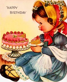 1950s Have My Cake And Eat It Vintage Greetings Card Digital Download Image (263)