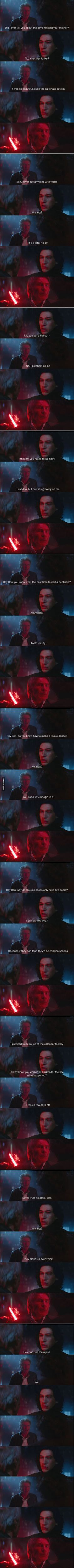 this is funny yet every time he stuck the lightsaber through Han I cried Corny Jokes, Funny Dad Jokes, Hilarious, Kylo Ren Meme, Star Wars Jokes, Dad Humor, Humour, Daily Funny, The Funny
