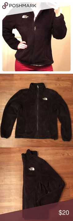 Women's Small Black North Face jacket North Face size small fuzzy black jacket. Jacket is pre loved but still in great condition.  Nothing wrong with it, I got a new one for my birthday so I am minimalizing. Super soft and fuzzy women's jacket. The North Face Jackets & Coats