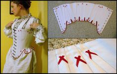 Historicalish stays for 16th century garb. -- try to make a corset shaped like this! i love the shape it gives her!