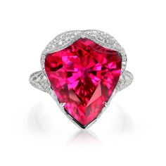 White Gold Ring featuring Brazilian Cruzeiro Rubellite and Diamonds Jewelry Auctions, Tourmaline Jewelry, Sarah Jessica Parker, Jewelry Accessories, Women's Jewelry, Fine Jewelry, Jewellery, Gemstone Colors, White Gold Rings