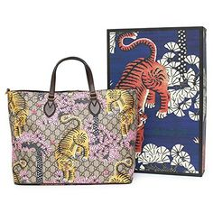 1d58e57e12 Gucci Bengal Tote Pink Shoulder Mixed Tiger Fabric leather Handbag Purse  Bag New Clout WearGucci Bengal