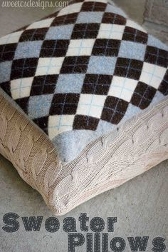 How to make pillows out of old sweaters- so easy and make great gifts!
