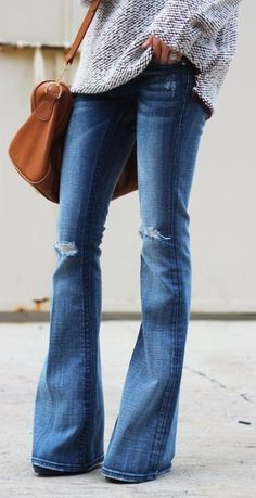 chunky sweater + bell bottoms + wedges