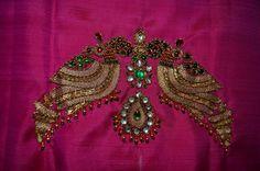 Hot pink pure silkpattu saree blouse with jewel kundan by Sravams