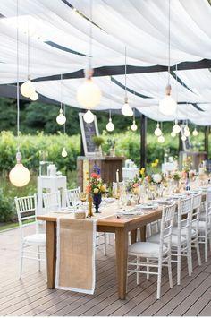 Outdoor Summer Wedding, Naked bulbs Venue: Molenvliet Photographer: Wesley Vorster Decor: Leipzig