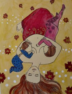 TANDEM- a serene, soulful print of a mother tandem breastfeeding her toddler and baby.