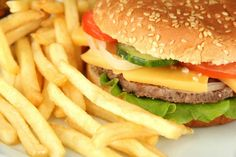 non gluten free fast food: burger and fries