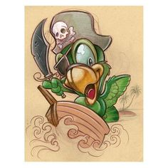 Pirate Bird by Jime Litwalk Tattoo Art Print New School Animated Style Poster