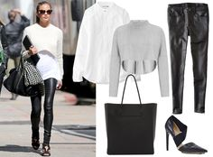 9 Star-Inspired Outfits to Wear to Work This Fall - Crop Top + Blouse + Leather Pants from #InStyle