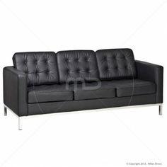 Knoll Replica 3 Seater Sofa - Black - Buy Bauhaus Furniture & Knoll Sofas - Milan Direct