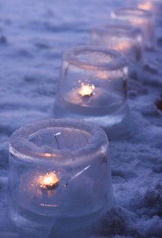 Winter wedding - outdoor tea light holders
