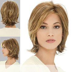 MONIKA by Estetica Design - Naturalle Collection. Color worn by the model is The color you receive may vary from the swatch shown due to your monitor, lighting and the distribution of the color fibers dictated by the style. Modern Bob Hairstyles, Wavy Bob Haircuts, Hairstyles Haircuts, Medium Hair Cuts, Short Hair Cuts, Medium Hair Styles, Short Hair Styles, Lace Front Wigs, Lace Wigs
