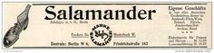 Original-Werbung/Inserat/ Anzeige 1912 -  SALAMANDER SCHUHE - ca. 55  x 180