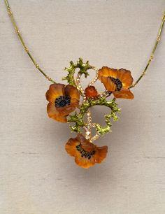 "René Lalique's diamond, enamel and glass ""Poppy Necklace"" (circa 1900-1903)"