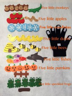 Make these Five Little Finger stories to go along with reading and music.Five Little Pumpkins/bees/snowflakes/speckled frogs/fishes/monkeys/ducks/apples Finger Play Glove/ Puppet Glove Set/Story Time/Education by IvyHandmadeDesign on Etsy Flannel Board Stories, Felt Board Stories, Felt Stories, Flannel Boards, Glove Puppets, Felt Puppets, Finger Puppets, Preschool Music, Number Songs Preschool
