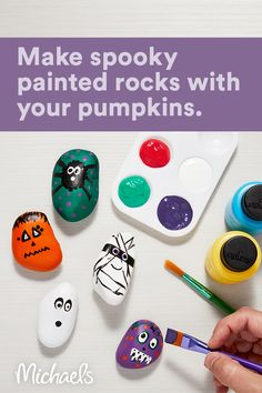 This project is intended for ages 5+. Paint some Halloween themed rocks and set them around your neighborhood to share the Halloween spirit! Use your imagination and art skills to have fun this season. Halloween Arts And Crafts, Halloween Crafts For Toddlers, Halloween Party Games, Fall Crafts For Kids, Diy Halloween Decorations, Holidays Halloween, Halloween Themes, Halloween Diy, Haloween Games