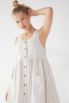 Urban Renewal Remnants Striped Linen Midi Dress | Urban Outfitters