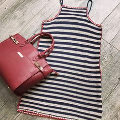 Crochet stripe nautical dress