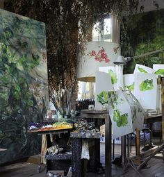 Studio of French artist Claire Basler in Château de Beauvoir, where she lives and paints.