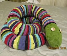 Knitted snake using skein ends..