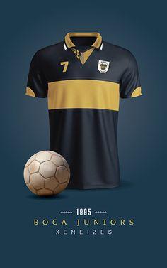Boca Juniors - Camiseta 1995 Messi, Ralph Lauren Style, Football Kits, Vintage Football, World Of Sports, Sportswear, Mens Tops, T Shirt, Behance