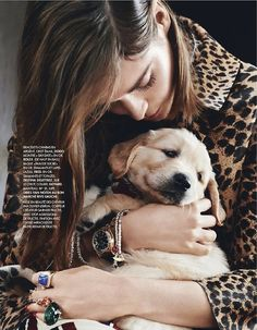 Elle France Editorial November 22 2013 - Anouk Hagemeijer by Bjarne Jonasson I Love Dogs, Puppy Love, Baby Animals, Cute Animals, Spotted Animals, Lady And The Tramp, All Things Cute, Girls Best Friend, Beautiful Creatures