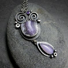 Purple Passion Agate Holly Blue Agate and Purple Cubic Zirconia Multi Gemstone Necklace Jewelry Art, Jewelry Design, Bold Jewelry, Jewelry Rings, Gemstone Necklace, Pendant Necklace, Cleaning Silver Jewelry, Handcrafted Jewelry, Artisan Jewelry