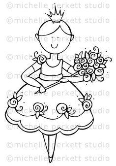 Digital stamp Image Birthday Roses Tiara Girl Cute Dress stamping scrapbooking cardmaking