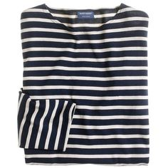 J.Crew Saint James® unisex Meridien II nautical T-shirt ($95) ❤ liked on Polyvore featuring tops, t-shirts, shirts, sweaters, long sleeves, fillers, striped long sleeve t shirt, t shirts, long sleeve shirts and breton striped shirt