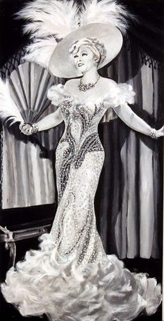 Hollywood Glamour Painting in the 1930s - Mae West (artist unknown). Featuring a beautiful bias-cut, off the shoulder dress with a wide-brimmed hat.