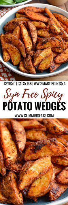 Add a spicy kick to your main course, with this delicious and healthier oven-baked Syn Free Spicy Potato Wedges - yum! Gluten Free, Dairy Free, Vegetarian, Slimming World and Weight Watchers friendly Slimming World Vegetarian Recipes, Slimming World Dinners, Slimming World Diet, Slimming Eats, Slimming Recipes, Healthy Recipes, Slimming World Lunch Ideas, Actifry Recipes Slimming World, Air Fryer Recipes Slimming World