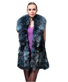 Bafei Authentic Fox Fur Vest for Women with Raccoon Collars (L, Blue)