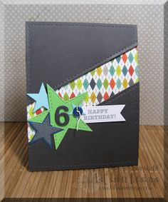 Boy Birthday, stars, diagonal, patterned paper