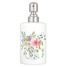 #rustic - #Rustic Watercolor Flowers in Glass Jar Soap Dispenser & Toothbrush Holder