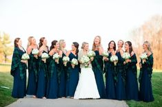 Plaid and flannel prints are perfect for wintery weddings, and we love these interpretations. From linens to invitations, get ready to get inspired! Lumberjack Wedding, Flannel Wedding, Tartan Wedding, Bridesmaid Shawl, Fall Bridesmaid Dresses, White Wedding Dresses, Wedding Bridesmaids, Scottish Wedding Themes, Emerald Green Weddings