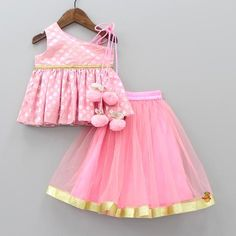 Pre Order: Pink Peplum Top With Lehenga Baby Girl Frocks, Baby Girl Party Dresses, Frocks For Girls, Little Girl Dresses, Birthday Dresses, Baby Girl Dress Design, Girls Frock Design, Kids Dress Wear, Kids Gown