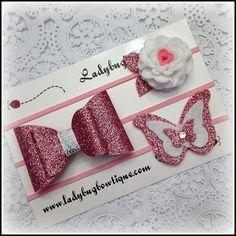 Wool Felt Glitter Hair Trio  Clips or Skinny by LadybugBowtique