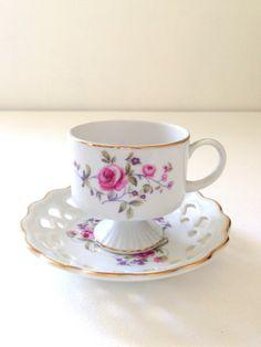 Mid Century Footed Porcelain Teacup and Saucer by MariasFarmhouse